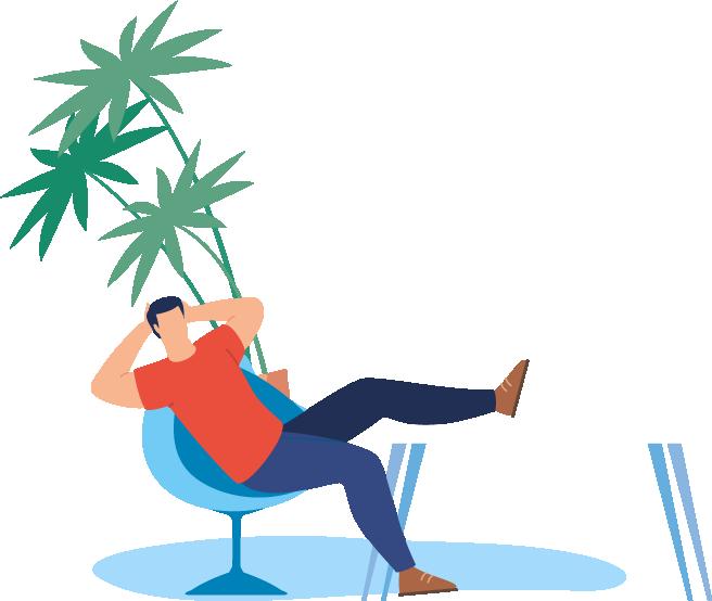 guy relaxing with marijuana plant